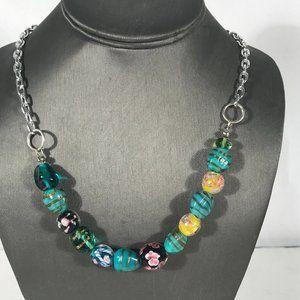 Lampwork Boho Goddess Necklace Beaded Silver Chain